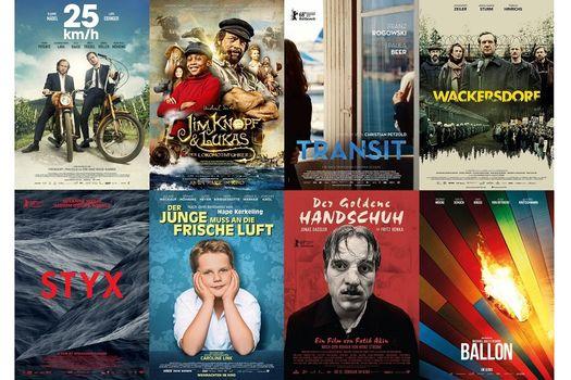 """Filmplakate von """"Ballon"""", """"Wackersdorf"""", """"25 km/h"""", """"Jim Knopf"""", """"Transit"""", """"Styx"""", """"Der Junge muss an die frische Luft"""" und """"Der goldene Handschuh"""""""