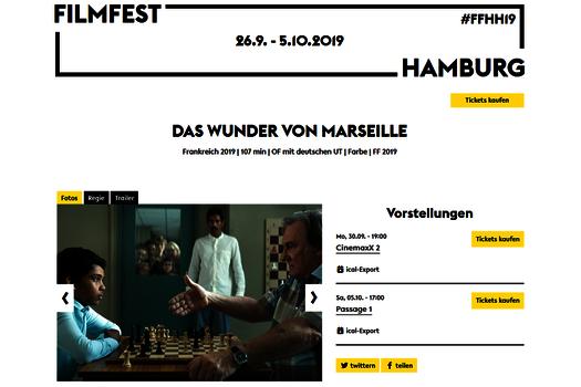 """Screenshot der Buchungsseite """"Das Wunder von Marseille"""" des Filmfests Hamburg"""